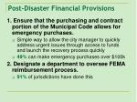 post disaster financial provisions