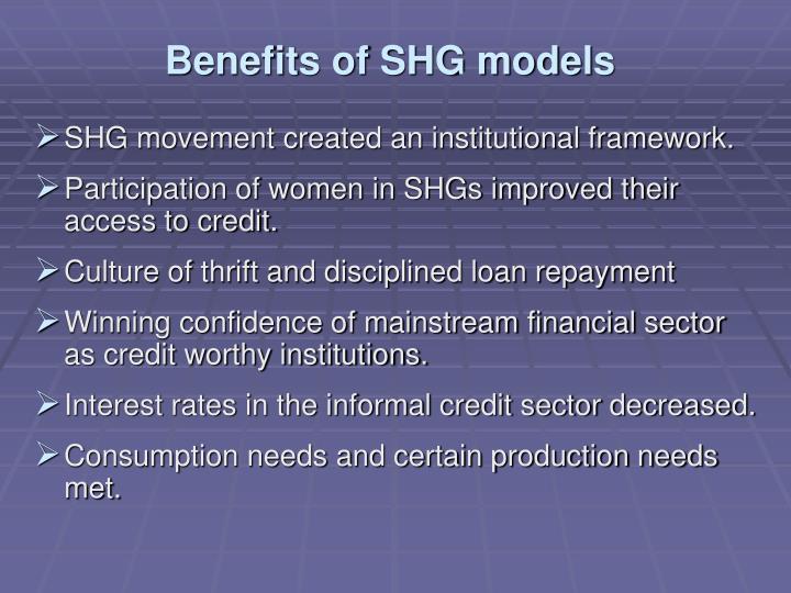 Benefits of SHG models