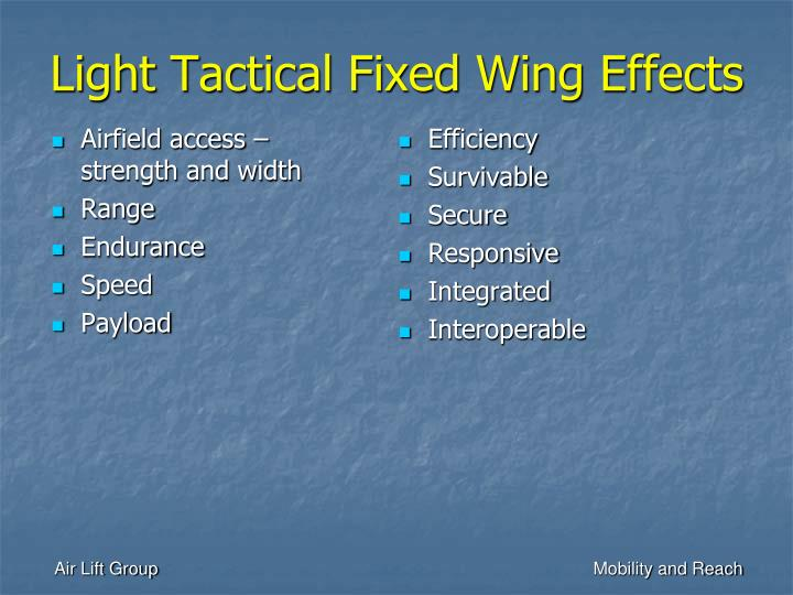 Light Tactical Fixed Wing Effects