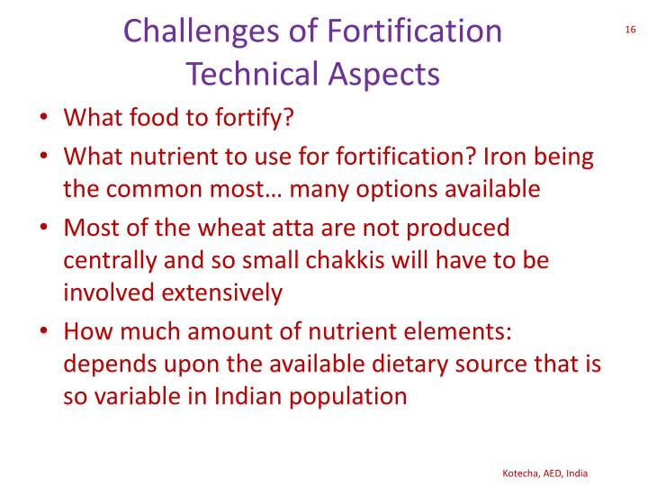 Challenges Of Fortification Technical Aspects