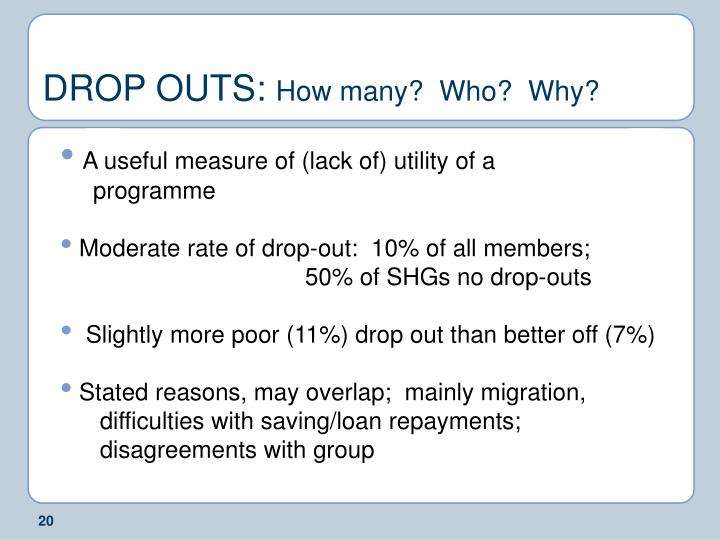 DROP OUTS:
