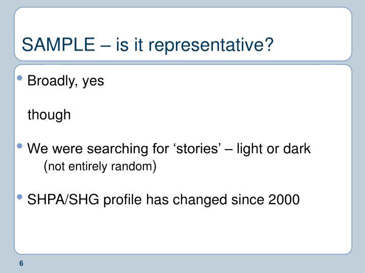 SAMPLE – is it representative?
