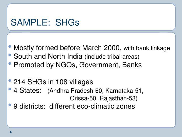SAMPLE:  SHGs
