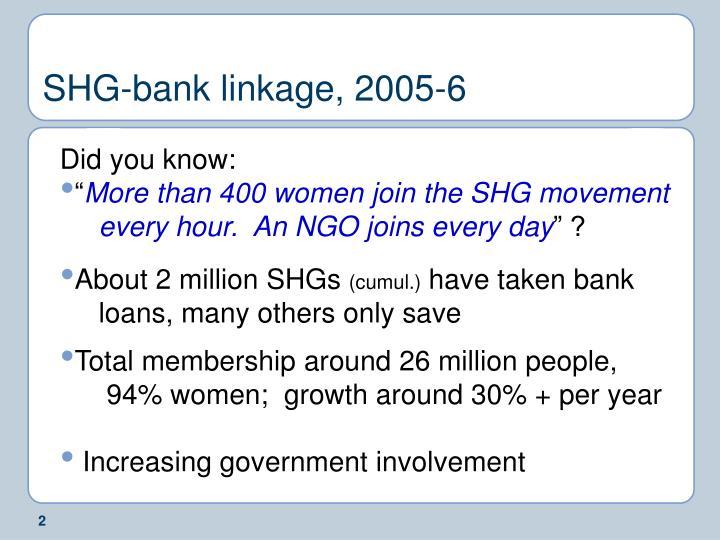 Shg bank linkage 2005 6