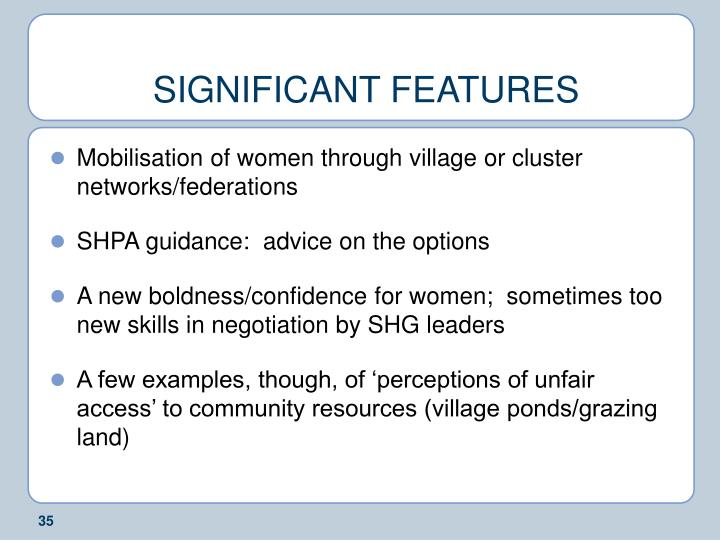 SIGNIFICANT FEATURES