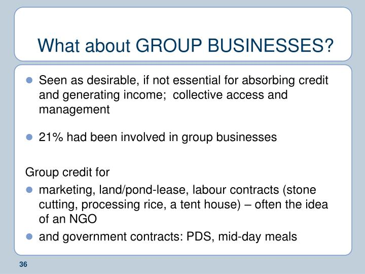 What about GROUP BUSINESSES?
