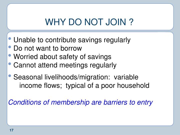 WHY DO NOT JOIN ?