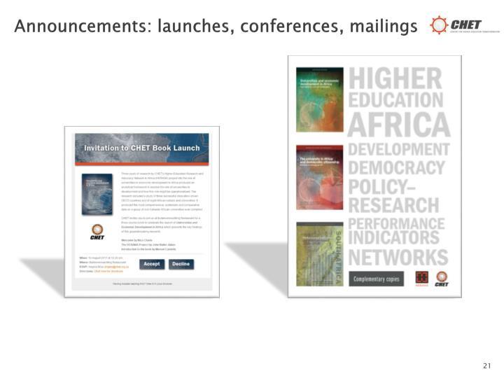 Announcements: launches, conferences, mailings