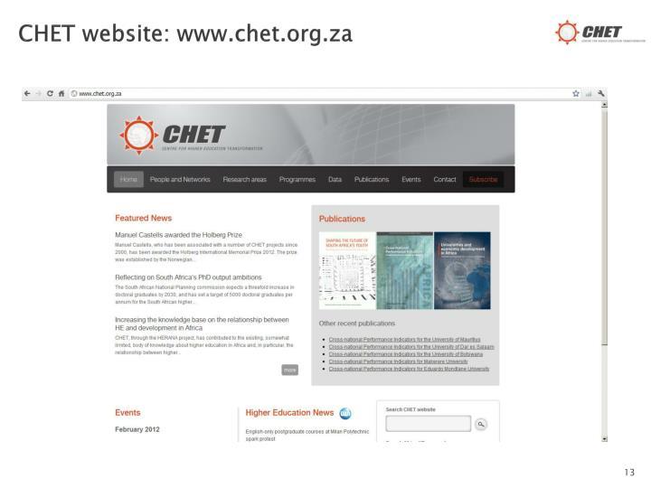 CHET website: www.chet.org.za