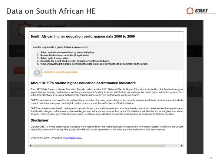 Data on South African HE