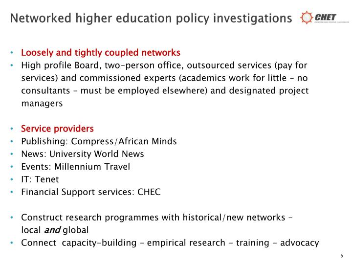 Networked higher education policy investigations