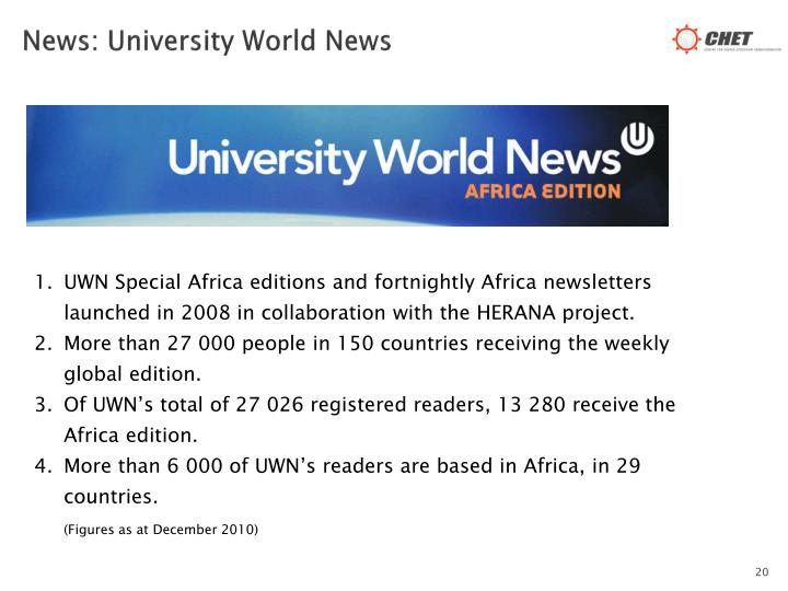 News: University World News