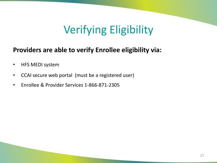 Verifying Eligibility