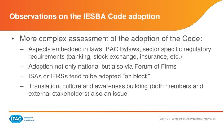 Observations on the IESBA Code adoption