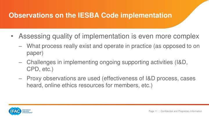 Observations on the IESBA Code implementation