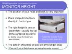 office ergonomics the right equipment the right place monitor height
