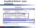 simplified method joint annuitant