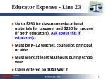 educator expense line 23
