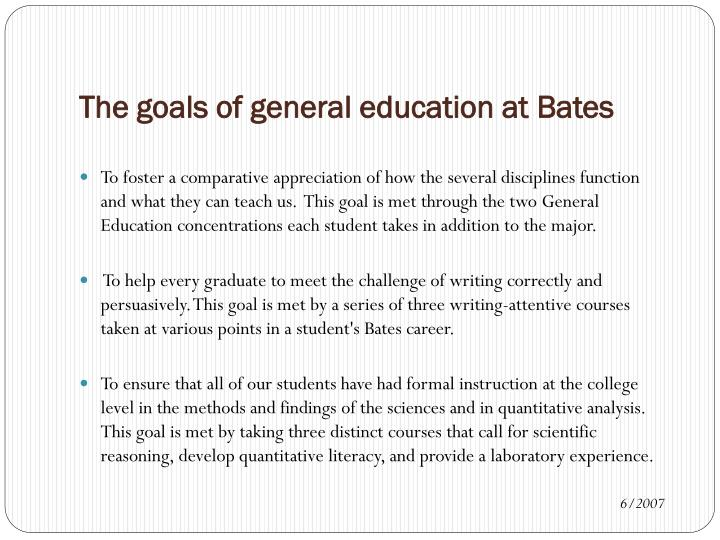 The goals of general education at Bates