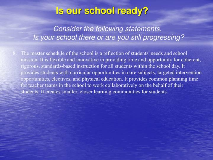 Is our school ready?