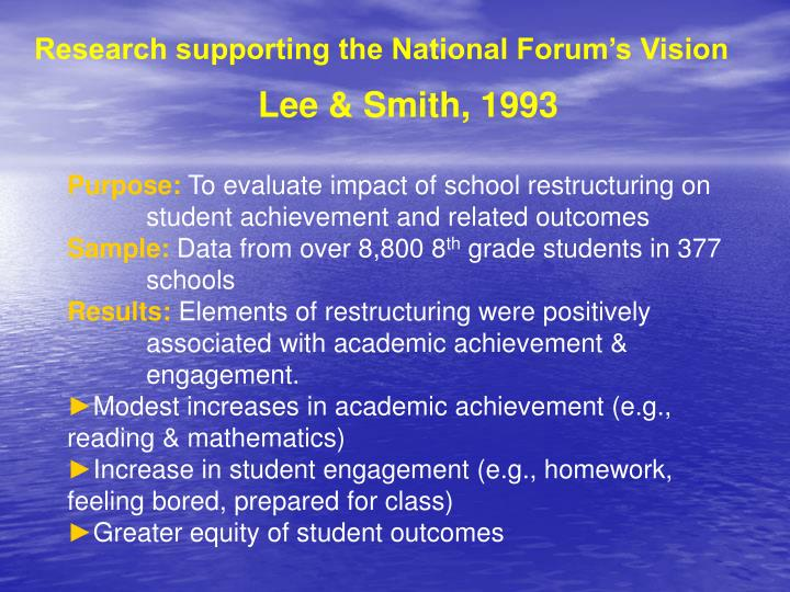 Research supporting the National Forum's Vision