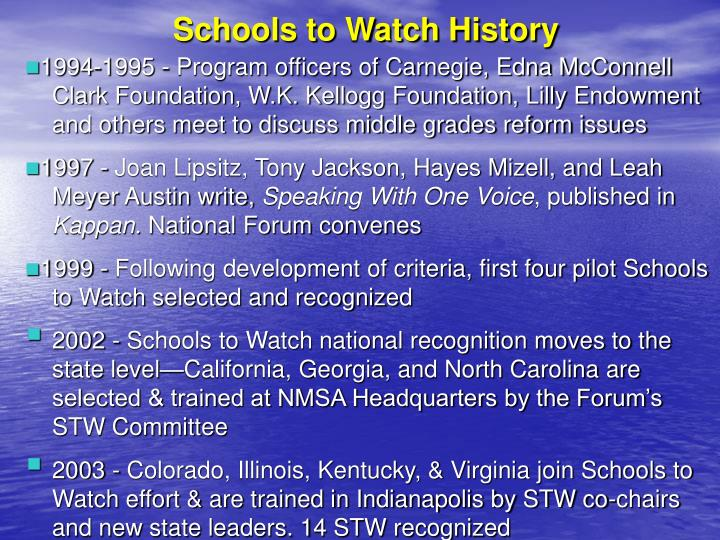 Schools to Watch History