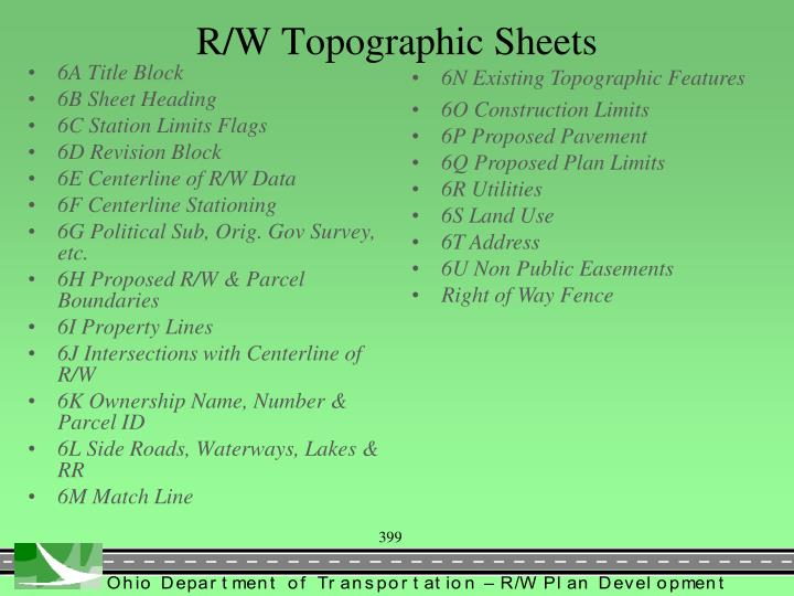 R/W Topographic Sheets