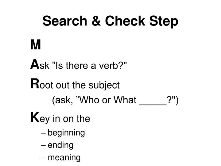 Search & Check Step