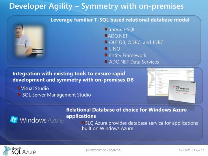 Developer Agility – Symmetry with on-premises