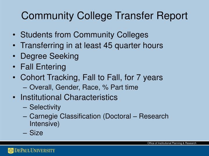 Community College Transfer Report