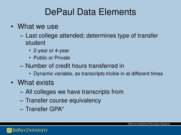 DePaul Data Elements