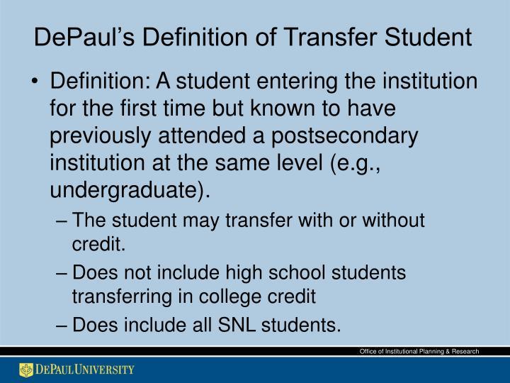 Depaul s definition of transfer student