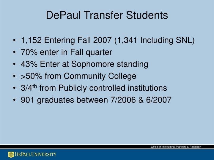 Depaul transfer students