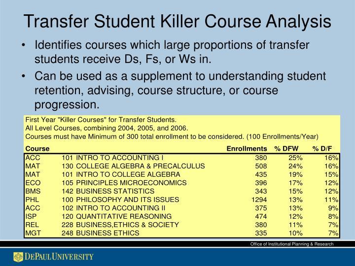 Transfer Student Killer Course Analysis