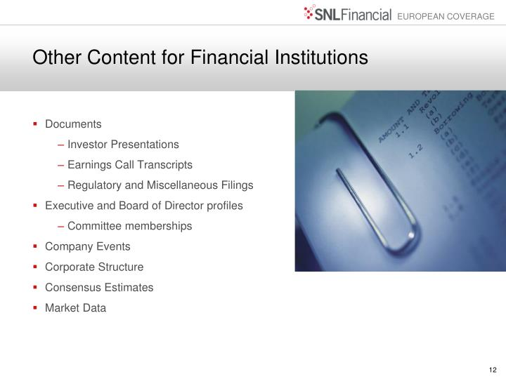 Other Content for Financial Institutions