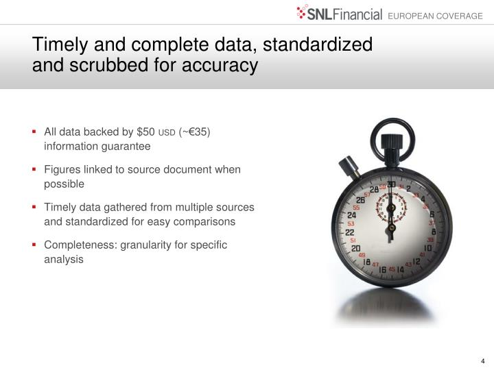 Timely and complete data, standardized and scrubbed for accuracy