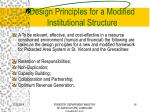 design principles for a modified institutional structure