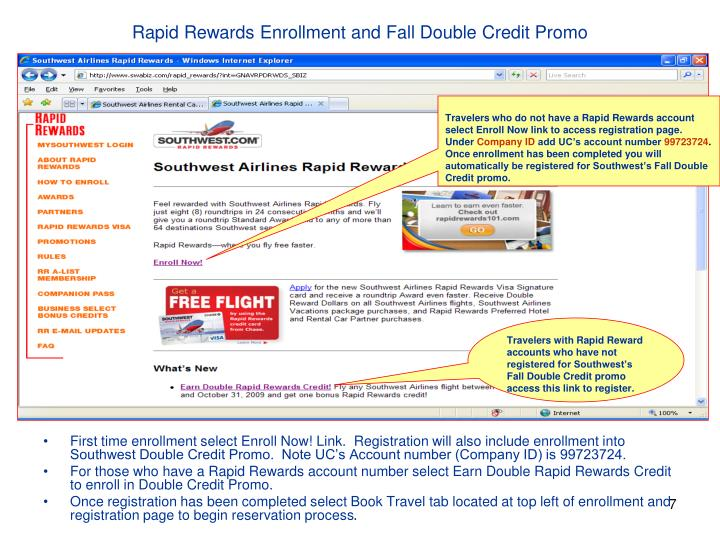 Rapid Rewards Enrollment and Fall Double Credit Promo