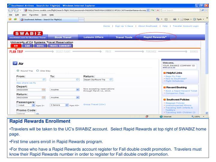 Rapid Rewards Enrollment