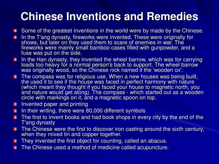 Chinese Inventions and Remedies