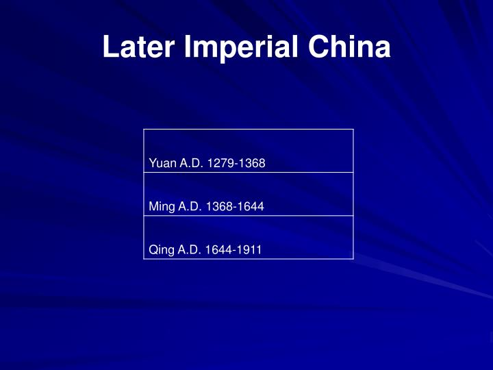 Later Imperial China