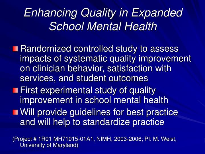 Enhancing Quality in Expanded School Mental Health