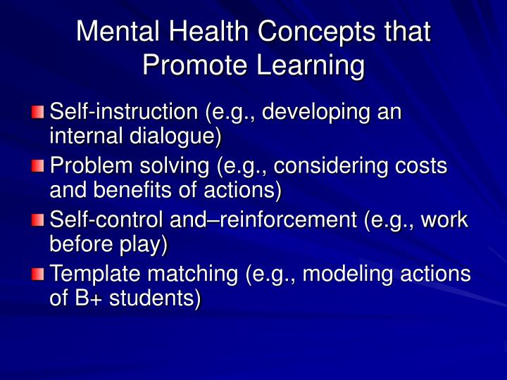 Mental Health Concepts that Promote Learning