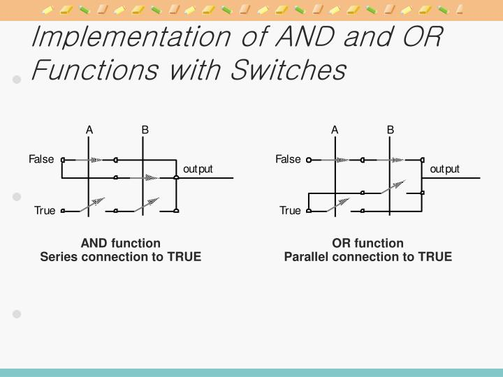 Implementation of AND and OR Functions with Switches