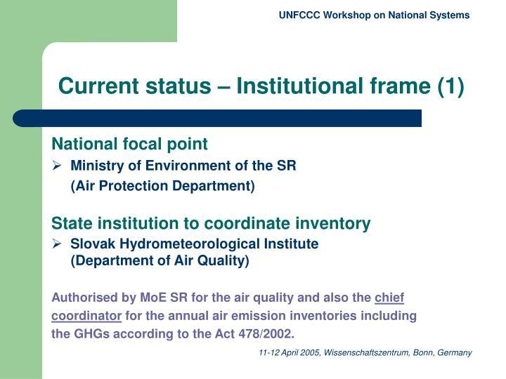 Current status institutional frame 1