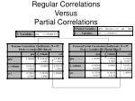 regular correlations versus partial correlations