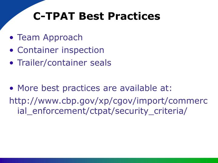 C-TPAT Best Practices