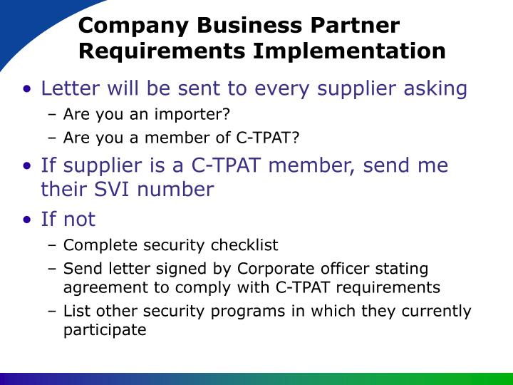 Company Business Partner Requirements Implementation