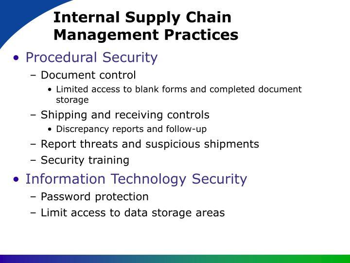 Internal Supply Chain Management Practices