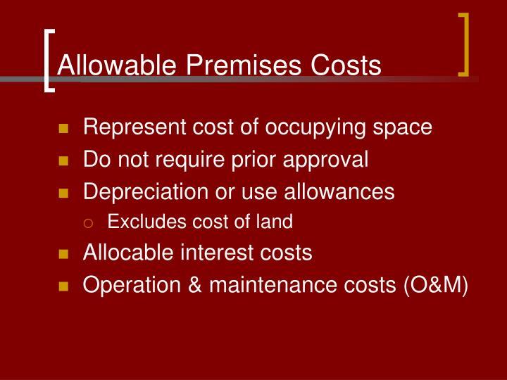Allowable Premises Costs